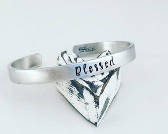 Blessed Cuff Bracelet - Hand Stamped Cuff Bracelet - Christian Bracelet - Blessed Mom Bracelet - Mom Jewelry - Gift for Mom - Inspirational