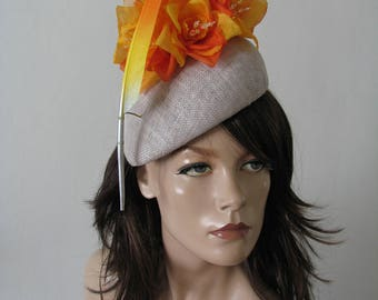 "Orange Yellow Silver Beret Headpiece ""Soph"" Silk Flower + Feather Hat for the Races Royal Ascot Hatinator Melbourne Cup Mother of the Bride"