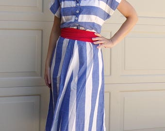 CHAMBRAY BLUE and WHITE striped 1950's summer dress vintage M L 40 bust