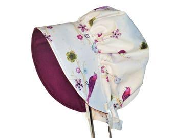 Baby Bonnet, Sun Hat, Girl Sun Bonnet,  Songbirds Toddler Hat, Modern Bonnet, Summer Bonnet, Newborn Bonnet, Baby Shower Gift, Made To Order