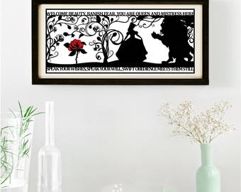 The Beauty of a Beast Signed and Framed Papercut Print • Beauty and the Beast • Fairytale Wall Art • Paper Cut Quote