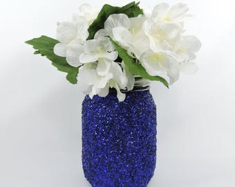 Blue centerpiece etsy royal blue centerpiece glitter mason jar for wedding decor baby shower decor graduation party junglespirit Choice Image