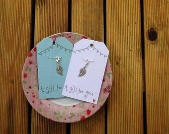 Leaf charm and drawn label,antique silver coloured leaf charm, bracelet charm, gift for friend
