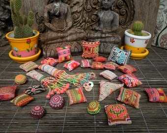 25 Textile Pockets HandMade with Upcycled Hmong Hilltribe Embroidery