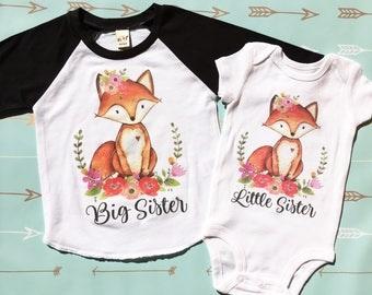 Big Sister Little Sister, Big Sister Little Sister Shirts, Long Sleeve, Big Sister Little Sister, Fox, Raglan Shirt, Sister Shirt Set