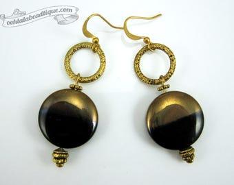 Black Gold earrings black coin earrings statement jewelry circle earrings glass jewelry boho earrings golden wife gift for girlfriend