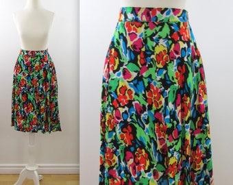 Jardin Full Circle Skirt - Vintage 1980s Bright Floral Skirt in Small Medium by Garey Petite