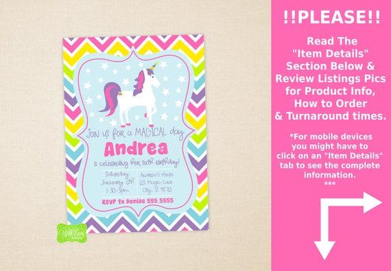 Unicorn party invitation unicorn birthday invite rainbow il570xn stopboris Gallery