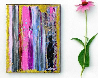 Fine art, Modern Abstract Painting Original ABSTRACT PAINTINGS, stripes, fuchsia, modern art painting on canvas 8x10 inch, Contemporary Art