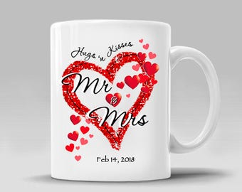 PERSONALIZED DATE_Mr & Mrs_Engagement_Valentines Day_Wedding Mug Hugs Kisses Love Hearts Gift Romantic_Coffee Mug_11 - 15 oz Cup_397M