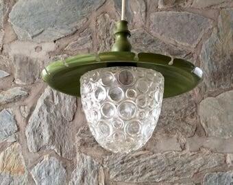 Vintage Graewe model 1104 bubble glass pendant light with green metal lamp shade. Seventies German design. Vintage Graewe Hängelampe