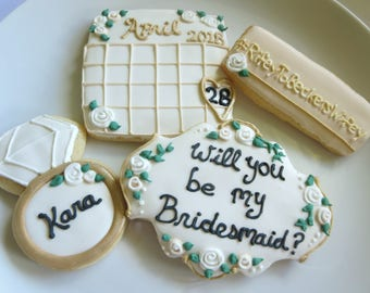 Will You Be My Bridesmaid Cookies, Bridesmaid Cookies, Will You Be My Bridesmaid, Bridesmaid, Wedding Cookies, Hashtag, Rings, Save the Date