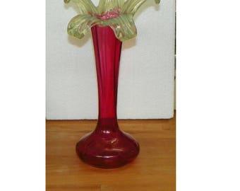 Antique  VASE Vaseline Applied Cranberry Art Glass JIP Rose Bowl