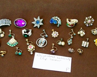 "24 pc SINGLE EARRING LOT Colored Rhinestones Clip on Screw 1/8""- 1 3/8"" Dangle Hoop Flower Wearable Craft Orphan Salvage Harvest Destash .P"