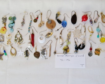 "45 pc SINGLE EARRING LOT Pierced Dangle 3/4""- 1 3/4"" Crystal Wood Hemetite Wearable Craft Mixed Media Orphan Salvage Harvest Destash .T"