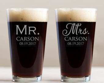 Personalized Mr. & Mrs. Pint Glasses Pair: Engraved Mr. and Mrs. Pint Glasses, Custom Mr. Mrs. Beer, Bride Groom Pint Glasses, SHIPS FAST