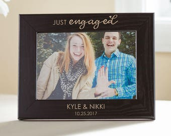 Personalized Engagement Picture Frame (BLACK): Just Engaged, Custom Engraved Engagement Gift, Just Engaged, Newly Engaged Frame, SHIPS FAST
