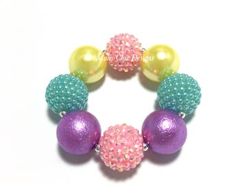 Toddler or Girls Pastel Chunky bracelet - Easter Chunky Bracelet - Pink, Yellow, Purple and Turquoise Bracelet - Spring Rainbow Bracelet