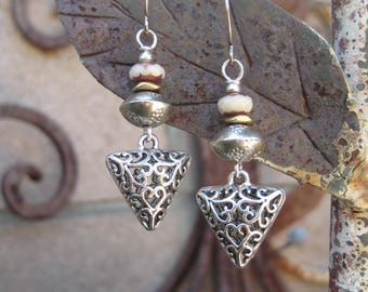 Beaded Silver Finish Puffed Triangle Charm Earrings - Boho Beaded Triangle Charm Earrings