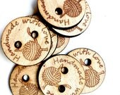 Custom crochet buttons, Wooden Tags, Buisness Tags, Custom Personalized Tags, Knitting, Engraved tags for Knitting, Craft Buttons,