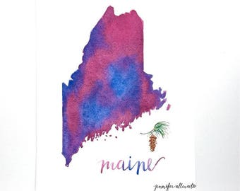 Maine watercolor state map art print