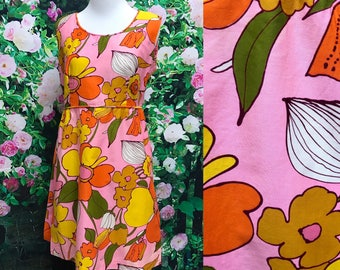 Vintage 60s Mod Pink Orange Flower Rhapsody Mini Sundress
