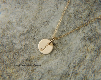 Dainty Gold Necklace 6 mm 14K Gold Disc Necklace Solid Gold Necklace Personalized Gold Necklace Initial Charm