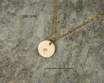 18K Gold Necklace 8 mm Personalized Gold Necklace Dainty Gold Necklace Solid Gold Disc Necklace 18K Luxury Jewelry