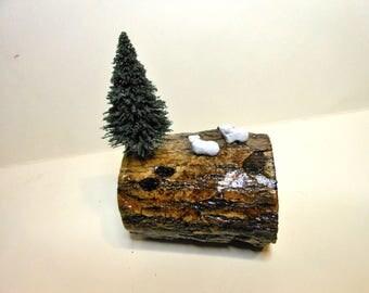 """Polar Bear Scene on Wood-OOAK-Polymer Clay Polar Bears-Miniature 1/2"""" Polar Bears"""