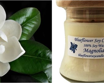 Scented Soy Candle Magnolia Hand-Poured 12 oz Jar With Wood Lid