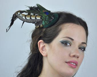 Emerald Green, Black And Gold Feather Fascinator