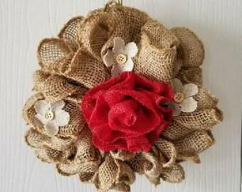 Burlap Wreath with Flowers, Flower Burlap Wreath, Burlap and Flowers, Indoor Wreath, Rustic Burlap Wreath, Mini Wreath, Spring Burlap Wreath