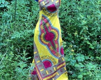 Yellow African Wax Print Cotton Maxi Dress