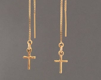 Gold Fill Cross Box Chain Threader Earrings also in Sterling Silver