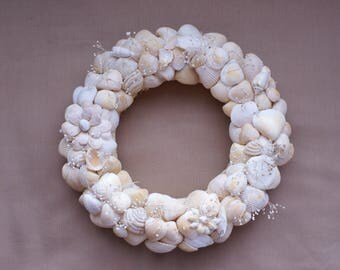 Beach wreath - 8.5 inch wedding wreath - yellow wreath - white wreath - coastal decor