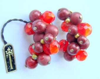 Vintage Crown Trifari Red Crystal Cranberry Cluster Bead Earrings / Designer Signed / Ear Climbers / Clip Earrings / Jewelry / Jewellery