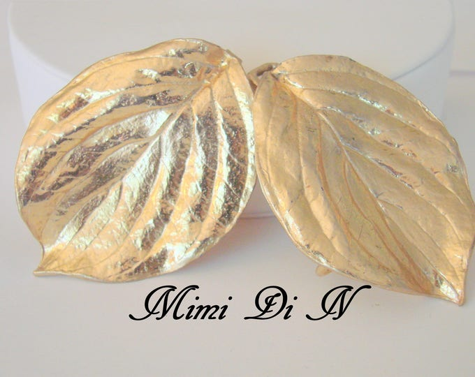 Very Large Mimi Di N Textured Leaf Dress Belt Buckle / 1981 / Designer Signed / Statement / Runway / Vintage Fashion / Fashion Accessories