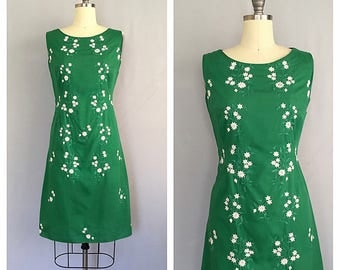 Kelly green dress | 1960s embroidered shift | 60s mod cotton dress | s