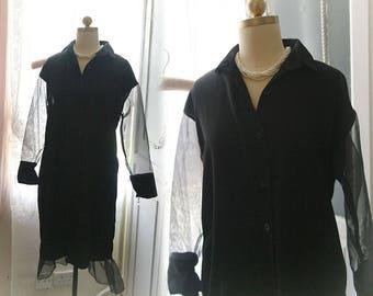 Chic goth gothic sheer black organza long sleeves mermaid ruffles shirt Dress Sundress Witch Style