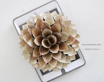 paper dahlia || 7'' dahlia wall decor || wedding flower || origami gifts | nursery wall decor || bridal shower backdrop -vintage text