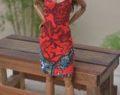 Red Paisley Tank Mini Dress for Barbie Made to Move Fashion Dolls