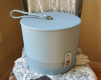 Everbest Hat Wig Case, Baby Blue Travel Train Case, Hat Wig Carrying Box