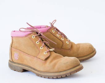 Vintage 90's Women's Tan Timberland Suede Ankle Work Boots UK 7 EU 41 US 9