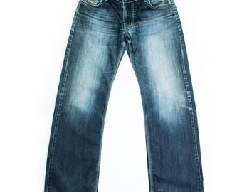 Vintage Diesel Jeans Straight Leg Mid Rise Faded Blue Made In Italy W 35 L 33