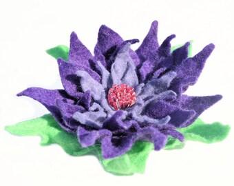 Felt Flower Brooch Pin, Purple Felt Wool Flower Brooch Pin, Ready to ship