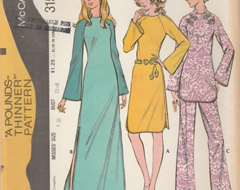 70s Raglan Dress or Tunic and Pants Pattern McCalls 3155 Size 12 Uncut