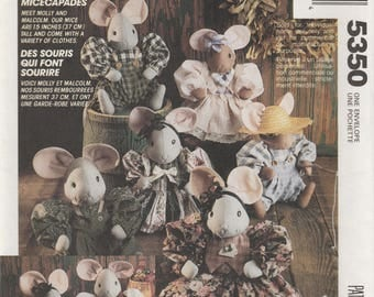 Mouse Doll & Clothes Sewing Pattern McCalls 5350 Uncut