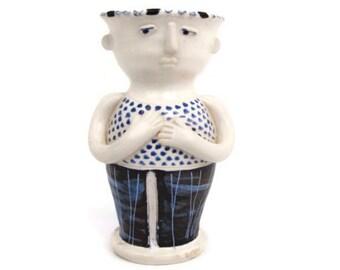 Vintage Scandianavian Pottery Figurine Vase Swedish Stoneware Boy Man Hand Painted Cobalt Blue Flower Vase Blue and White Figure