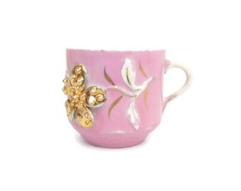 Vintage Shaving Mug Applied Flower Hand Painted Pink and Gold Coffee Cup Raised Design Toiletry Cup Art Deco Bathroom Decor