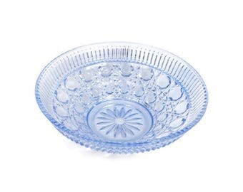 Vintage Blue Windsor Bowl Federal Glass Ice blue Glass Dish Button Cane Pressed Glass EAPG Wedding Centerpiece